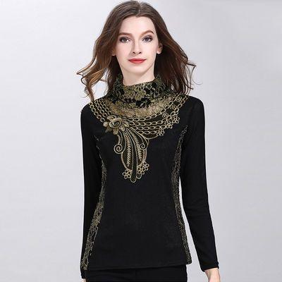 蕾丝高领加绒打底衫2020冬季新款女装春秋网纱长袖保暖加厚上衣女