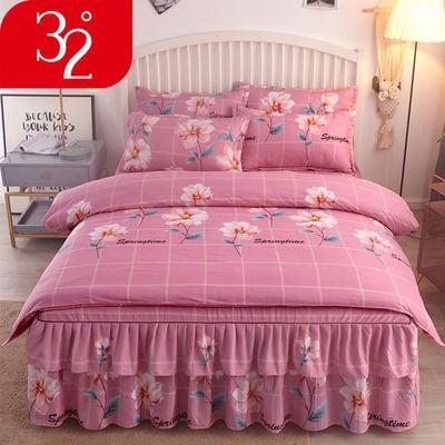 32° 加厚斜纹床裙四件套磨毛床罩被套公主风床单单双人床上用品