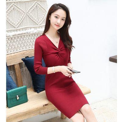 秋季裙子2019新款女装气质长袖黑色OL修身显瘦性感包臀v领连衣裙