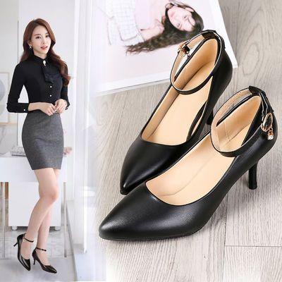 新款气质仙女鞋尖头细跟高跟鞋一字扣带水钻浅口职业正装工作鞋子