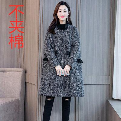 【特价】【秋冬上新】高端品质宽松欧版人字纹毛呢大衣女中长款小
