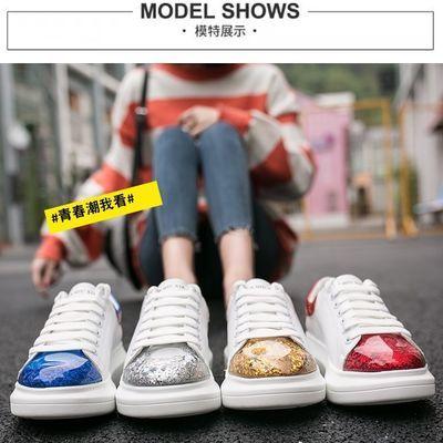 韩版平底学生鞋2020春新款小白鞋女ins潮松糕厚底女士休闲鞋板鞋