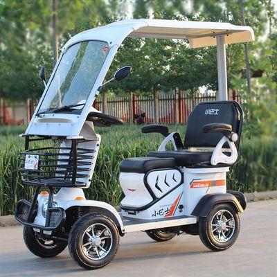 小巴士老人四轮电动车老年代步车双人成人电瓶助力车接送孩子带棚