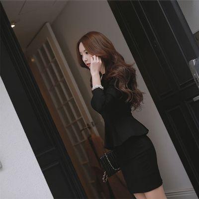 秋冬新款长袖修身性感气质连衣裙女职业ol显瘦包臀荷叶边假两件套