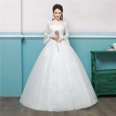 婚纱礼服2018新款夏季长袖一字肩显瘦齐地公主大码新娘孕妇婚纱女