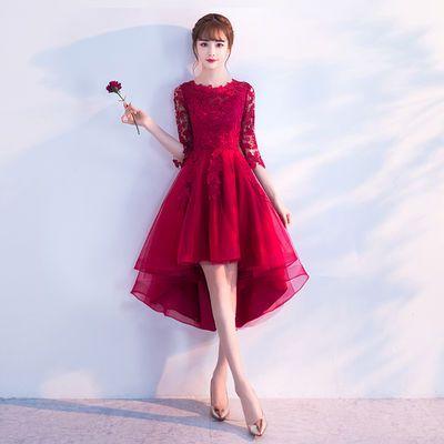 红色敬酒服新娘2019结婚新款春夏季韩式晚礼服女短款修身显瘦礼服