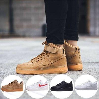 新款空军一号高帮小麦色板鞋运动休闲情侣低帮小白鞋学生男鞋女鞋