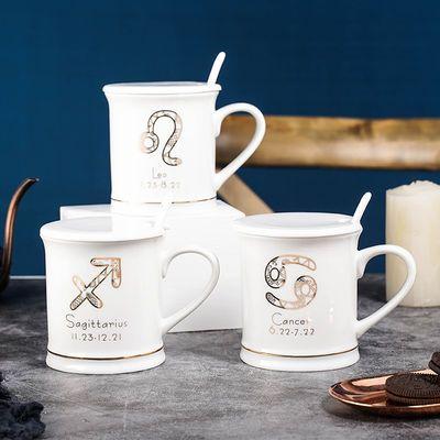 马克杯咖啡杯茶杯陶瓷杯子带盖勺男女学生情侣喝水家用大容量水杯