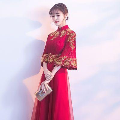 2019新款秋冬敬酒服新娘红色中式旗袍中国风宴会晚礼服女结婚回门