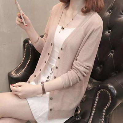 针织衫女开衫短款夏季长袖冰丝V领外搭小披肩外套薄款防晒空调衫