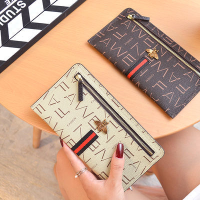 2019欧美大牌钱包女长款拉链复古超薄牛皮手机钱卡包夹软皮手拿包