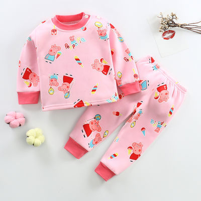 一岁半男宝宝加绒内衣套装0女童秋冬装2秋衣秋裤3小孩1保暖睡衣服
