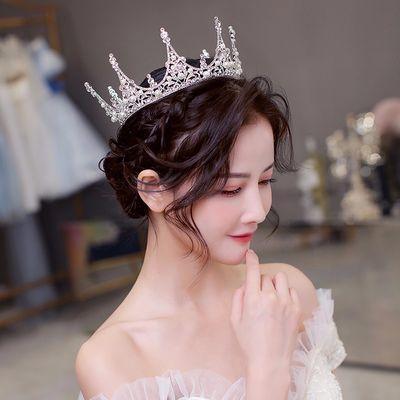 皇冠头饰女新娘结婚大气欧美水晶圆冠成人公主生日白纱配饰HG770