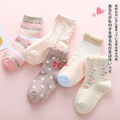 春秋款女童袜子纯棉中筒宝宝花边公主袜儿童春秋粉色四季棉袜大童