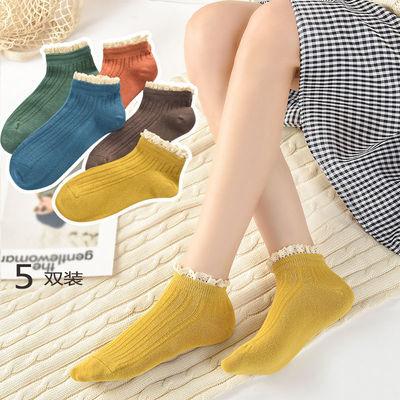 袜子女韩版短袜女船袜日系可爱纯色棉袜蕾丝花边潮流中筒袜公主袜【3月10日发完】