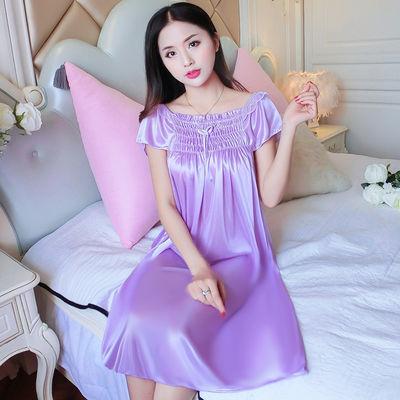 睡裙女夏季性感诱惑甜美冰丝短袖长款加大码丝绸雪纺薄款家居睡衣