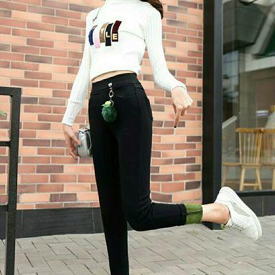 加厚加绒黑色高腰弹力外穿小脚裤不脱色不起丝上身美达达的!!!穿起来舒服