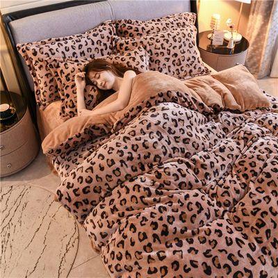 豹纹四件套珊瑚绒冬季床上床单加绒被套双面绒床品法兰加厚法莱绒
