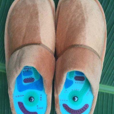 助尔舒冬款保健太极足神按摩磁疗鞋垫 旋转健康足疗保暖男女拖鞋