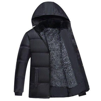 男装加绒加厚棉服秋冬款中年男士棉衣外套冬季中老年人爸爸装棉袄