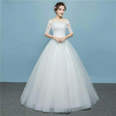 新款2019春韩式简约一字肩中袖新娘婚纱蕾丝大码显瘦婚纱礼服H09