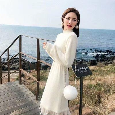 毛衣针织连衣裙2019新款女秋冬装长款过膝两件套长裙套装裙