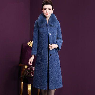 羊剪绒大衣女装冬装2019新款仿狐狸毛领绒贵夫人皮草皮毛一体外套