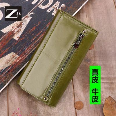 ZK女士手拿包钱包女长款钱夹简约拉链大容量零钱包女士真皮手机包