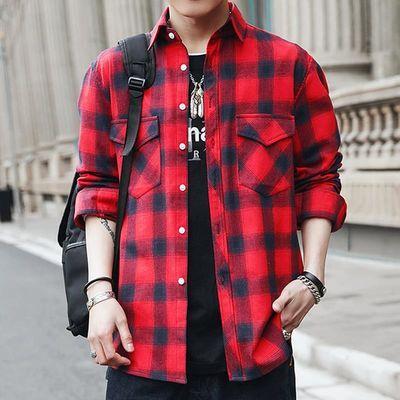 青年韩版宽松休闲ins潮外套衬衫男个性长袖衬衣bf风帅气百搭寸衫
