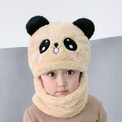 89835/儿童帽子女童男童秋冬季帽子围脖一体可爱加厚保暖宝宝遮脸护耳帽