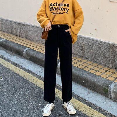黑色毛呢裤子女秋冬韩版直筒宽松休闲阔腿高腰九分呢子加厚西装裤