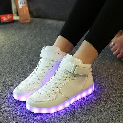 高帮灯鞋新款未来战士充电发光鞋王时尚休闲男女鞋板