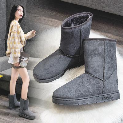 雪地靴女2020冬季新款学生面包鞋短筒情侣款加厚防滑中筒靴棉鞋潮