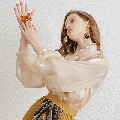 miss COCOON2019秋冬新款女装时尚压褶花边暗扣系扣衬衫套装女