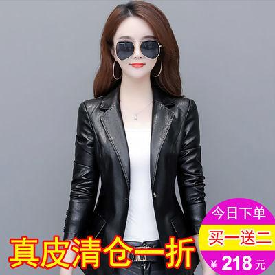 2020春秋海宁皮衣韩版短款修身显瘦大码皮夹克女式百搭小西装外套
