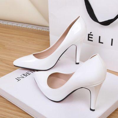 欧美裸色尖头高跟鞋女夏细跟中跟浅口优雅白色OL职业工作鞋单鞋秋