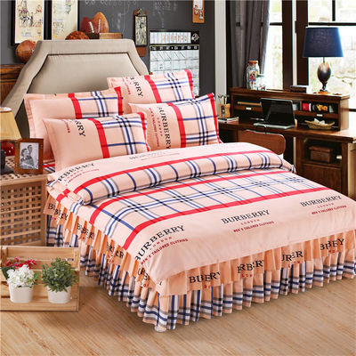 加厚磨毛床裙四件套床罩被套被罩韩版双人像纯棉全棉婚庆床上用品