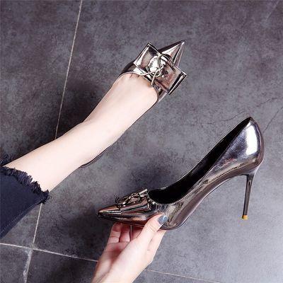 时尚单鞋女2020春季新款欧美职业尖头漆皮细跟高跟鞋方扣百搭女鞋