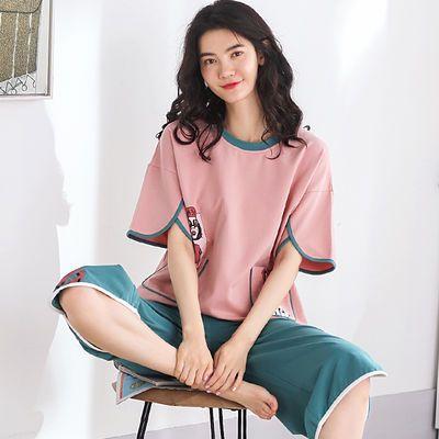 100%纯棉睡衣女夏短袖宽松型睡衣短裤韩版七分裤休闲家居服女套装