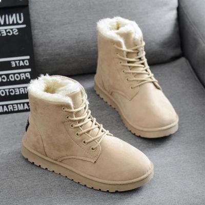 35-44码雪地靴 冬季新款防滑女靴子加绒保暖女士棉鞋平跟大码孕妇