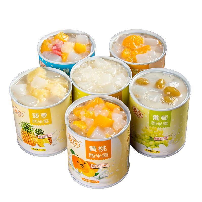 皮奇酸奶水果西米露黄桃菠萝椰果罐头3/4/6罐*312g混合甜品零食