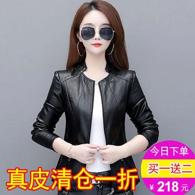 立领皮衣女式短款2020秋新款韩版修身显瘦海宁皮夹克女装大码外套