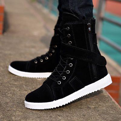 秋冬新款男靴子英伦中筒沙漠靴特种兵军靴潮流短靴高帮马丁靴皮靴