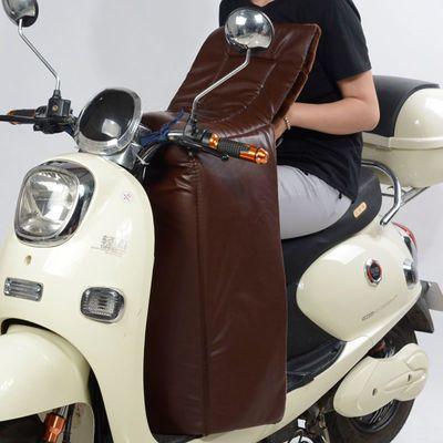 电动摩托车挡风被冬季加绒加厚PU防水防风寒电瓶车护膝防风罩保暖