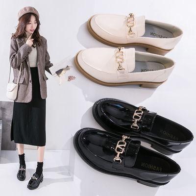 英伦风小皮鞋女春秋季女单鞋2020新款韩版百搭复古平底黑色豆豆鞋