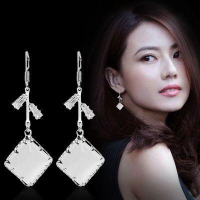 纯银耳环女气质韩国长款饰品2020新款潮显脸瘦耳钉高级感猫眼石坠