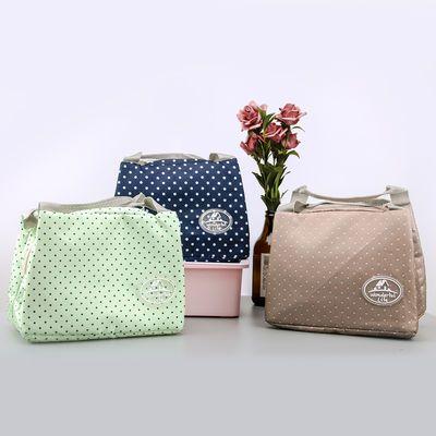新款学生午餐保温袋饭盒袋便当包户外保鲜保冷袋手提帆布袋饭盒收