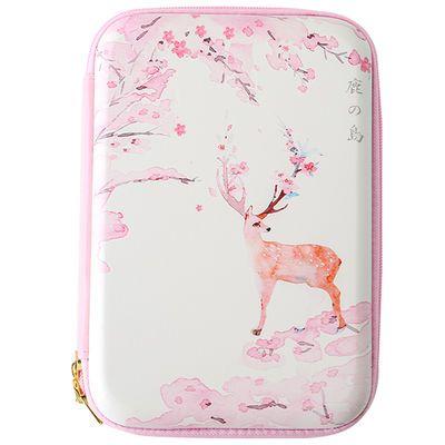 新款三年二班鹿的岛大号笔袋Z粉色多功能大容量笔盒创意文具盒铅