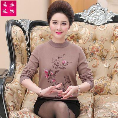 2019秋冬新款中老年女装妈妈装加绒毛衣针织打底衫宽松加厚奶奶装