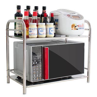 厨房置物架微波炉架子双层不锈钢烤箱架单层调料架收纳架厨房用品